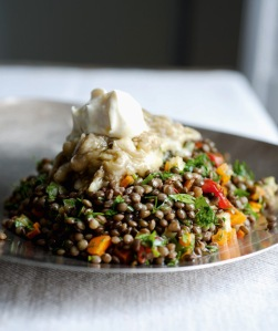 Yummy lentils and eggplant with summery vegetables