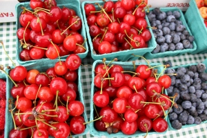 Sour cherries and blueberries
