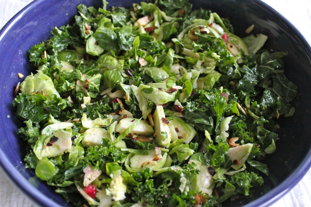 Brussels Sprout, Kale and Pomegranate Salad