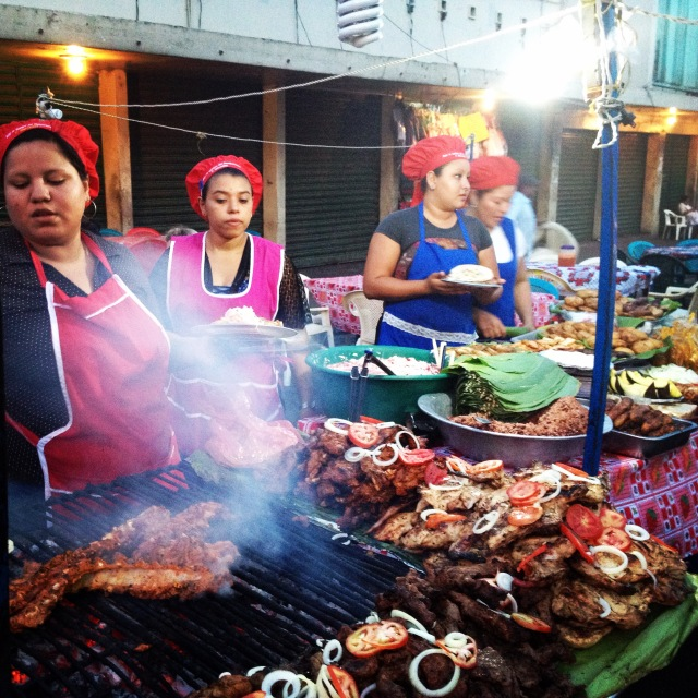 Eating delicious street food in Leon, Nicaragua